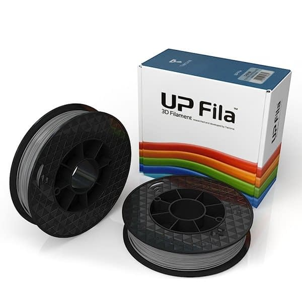 Box of UP Genuine PLA filament 2 spools of 500g per pack in grey
