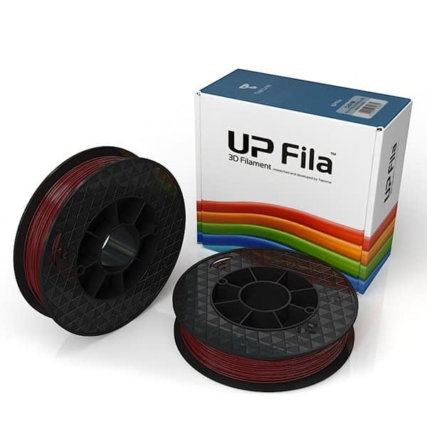 Box of UP Genuine PLA filament 2 spools of 500g per pack in burgandy