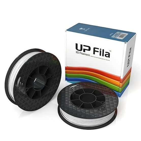 Box of UP Premium Original ABS 1.75mm diameter filament 2 spools of 500g per pack in white