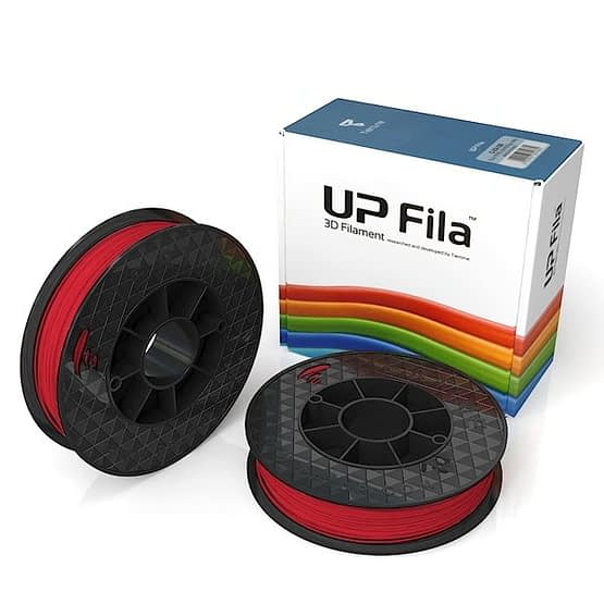 Box of UP Genuine Premium ABS 1.75mm diameter filament 2 spools of 500g per pack in red