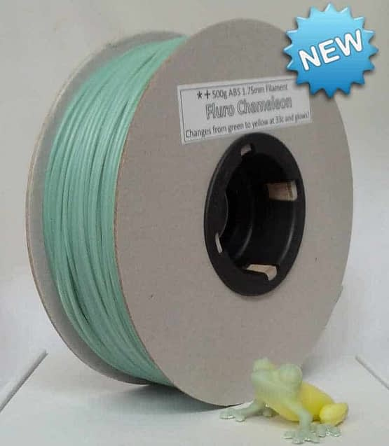 Fluro Chameleon Green to Yellow and Glows 500g ABS filament (glow & colour changing)