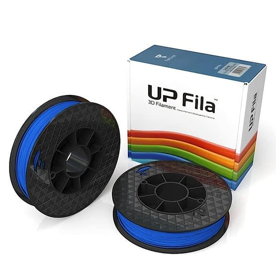 Box of UP Genuine Premium ABS filament 2 spools of 500g per pack in blue