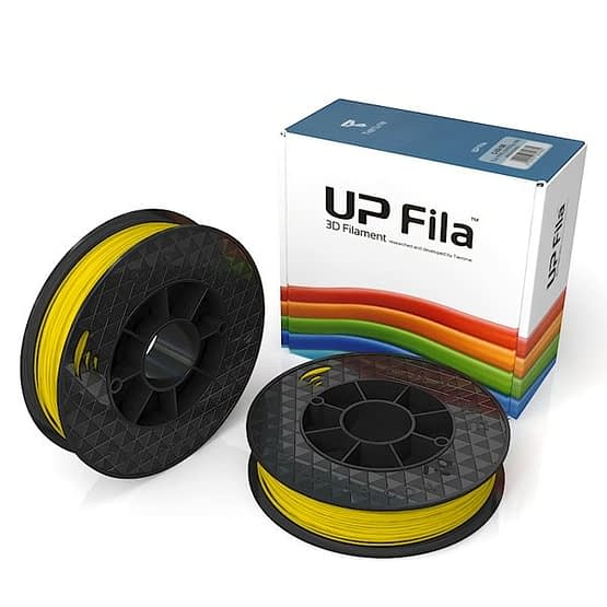 Box of UP Genuine PremiumABS 1.75mm diameter filament 2 spools of 500g per pack in Yellow